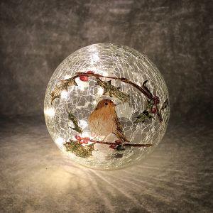 Festive Robin LED Lit Crackle Glass Ball – 15cm