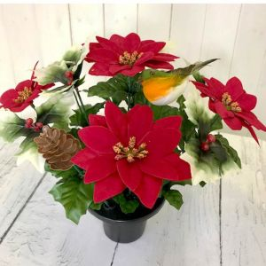 Florelle Robin and Poinsetta Pot