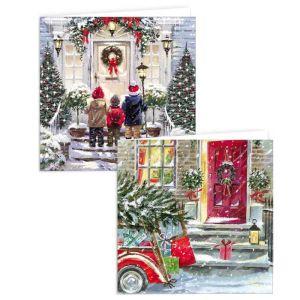 'Front Door Scene' Christmas Cards - Pack of 10