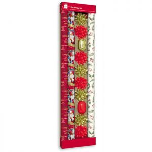 Traditional Christmas Gift Wrap Set - Red & Gold