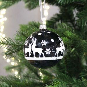 Decoris Glass Bauble with Stag - Night Blue