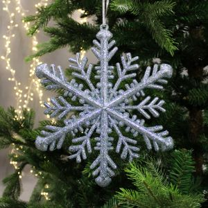 Snow White Snowflake Decoration - Blue