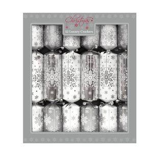 Luxury Silver Snowflake Cracker - Pack of 12