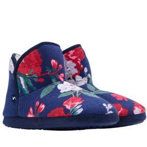 Joules Ladies Cabin Slipper - Navy Floral