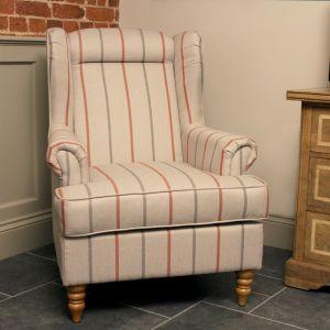 Hudson Wing Chair - Cream Stripe