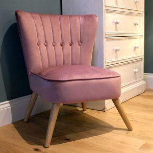 Velvet Cocktail Chair - Blush Pink