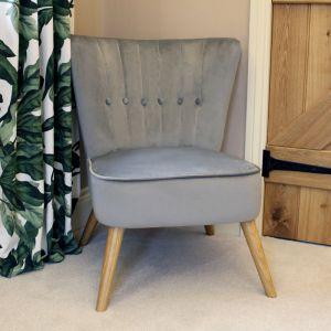 Velvet Cocktail Chair - Grey