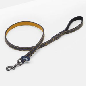 Doggy Joules Leather Lead - Navy and Yellow