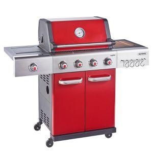 Outback Jupiter 4 Burner Hybrid Barbecue with Free Propane Regulator - Red