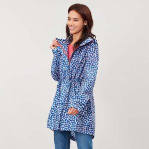 Joules Ladies Golightly Packaway Waterproof Jacket - Blue Daisy