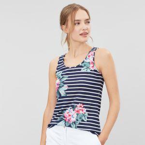 Joules BO Print Jersey Vest - Floral Navy Stripe