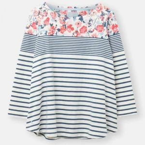 Joules Harbour Light Print Jersey Top - Cream/Blue Floral