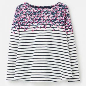 Joules Harbour Light Print Jersey Top - Cream Sweet Pea
