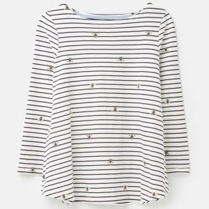 Joules Harbour Light Print Jersey Top - Gold Bee Stripe
