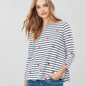 Joules Harbour Light Print Jersey Top - Heart Stripe