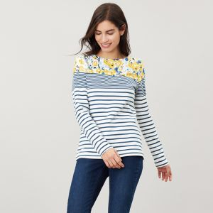 Joules Harbour Long Sleeve Jersey - Cream/Blue Floral