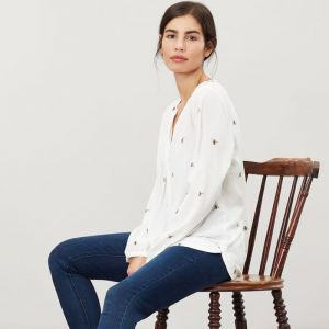 Joules Rosamund V Neck Woven Top - Cream Bee