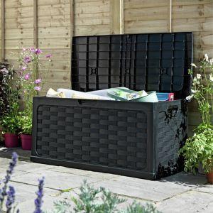 Starplast Sit-On Rattan Cushion Box Black