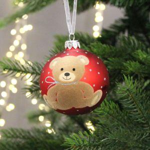 Decoris Teddy Bear Glass Bauble, 8cm – Red