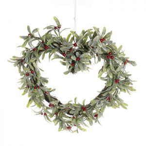 Mistletoe Heart Wreath – 37cm