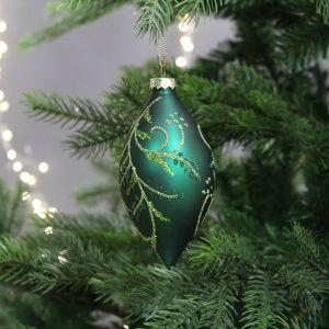 Festive Leaf Design Olive Bauble, 14cm – Green