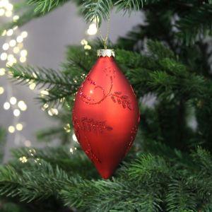 Festive Leaf Design Olive Bauble, 14cm – Red