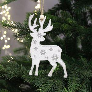 Festive Hanging Wooden Reindeer Tree Decoration