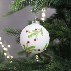 Festive Mistletoe Glass Bauble, 8cm – White