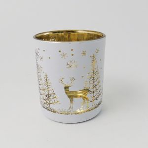 Reindeer in a Forest Votive, White and Champagne - 8cm