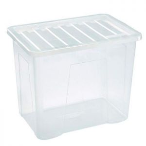 Thumbs Up Clear Plastic Storage Box with Lid - 80 Litre