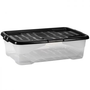 Strata Clear Plastic Curved Storage Box with Lid – 30 Litre