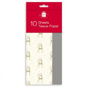 Gold Stag Christmas Tissue Paper – 10 Sheets