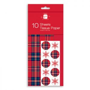 Red Tartan Christmas Tissue Paper with Seal Tabs – 10 Sheets