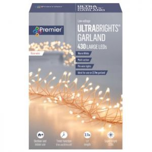 Premier Multi-Action Ultrabright Rose Gold Garland with Timer, Warm White – 2.7m
