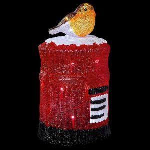 Premier 38cm Acrylic Mailbox Robin LED Light Figure - White