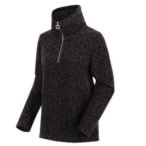 Kimberley Walsh X Regatta Women's Leela Half Zip Printed Fleece – Black Leopard