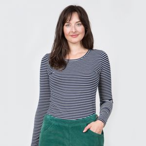 Lily & Me Women's Layering Striped Tee – Navy & Ecru