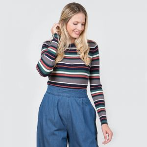Lily & Me Women's Crew Neck Striped Jumper – Navy