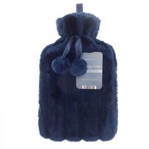 Country Club Luxury Faux Fur Hot Water Bottle – Navy