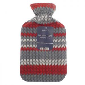 Country Club Fleece Hot Water Bottle – Red & Grey