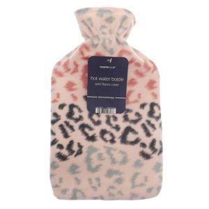 Country Club Fleece Hot Water Bottle – Pink Leopard
