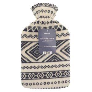 Country Club Fleece Hot Water Bottle – Black & White
