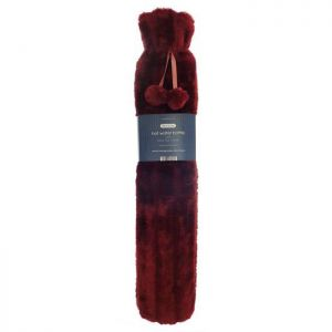 Country Club Long Faux Fur Hot Water Bottle – Red