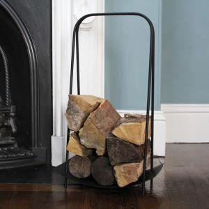 Mansion Curved Basket Handle Log Holder – Black