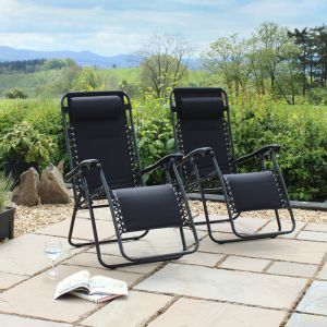 Wild Camping Padded Gravity Chair, Black - Set of 2