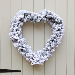 Decoris 50cm Imperial Snowy Heart Wreath