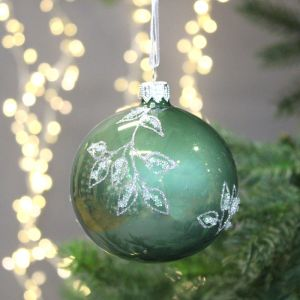 Decoris Bauble with Leaves Pattern, 8cm - Sage Green & Silver