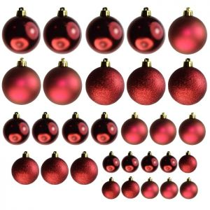 Assorted Baubles, 30 Pack - Red