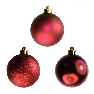 Assorted Baubles, 10 Pack - Dark Red