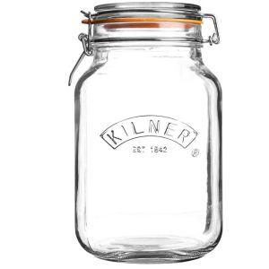Kilner Square Clip Top Storage Jar - 1.5 Litres